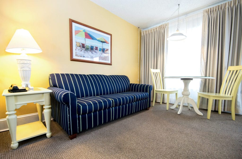 Living area in Concord Suites rooms